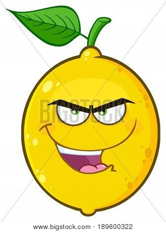 Evil Yellow Lemon Fruit Cartoon Emoji Face Character With Angry Expression. Illustration Isolated On White Background
