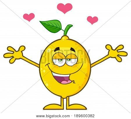 Happy Lemon Fresh Fruit With Green Leaf Cartoon Mascot Character With Hearts And With Open Arms For Hugging. Illustration Isolated On White Background