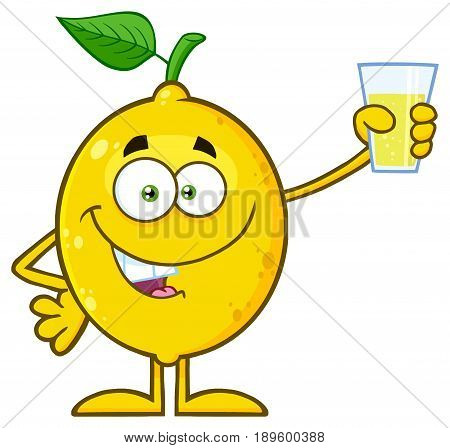 Yellow Lemon Fresh Fruit With Green Leaf Cartoon Mascot Character Presenting And Holding Up A Glass Of Lemonade. Illustration Isolated On White Background
