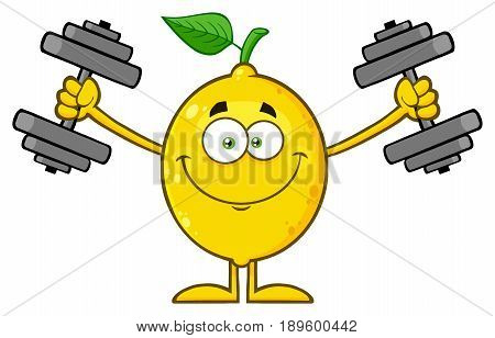 Smiling Yellow Lemon Fresh Fruit With Green Leaf Cartoon Mascot Character Working Out With Dumbbells. Illustration Isolated On White Background