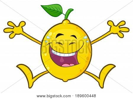 Laughing Yellow Lemon Fresh Fruit With Green Leaf Cartoon Mascot Character Jumping. Illustration Isolated On White Background