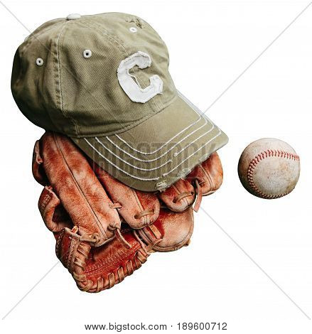Baseball cap of captain, ball and leather catcher's glove.  Isolated on white background