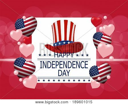 Happy Independence Day. A greeting card. Illustration in honor of the national holiday of the USA. Hat and hearts in the style of the American flag. Vector illustration