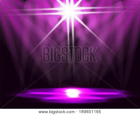 Lighting of the ice rink, catwalk, stage lights. Abstraction. Purple background. Vector illustration
