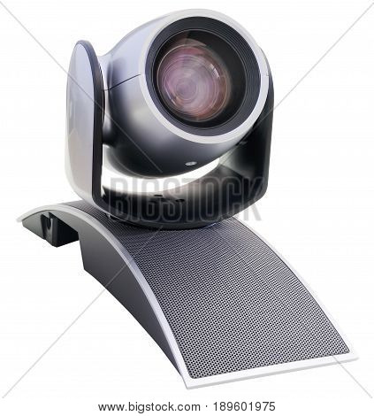 Supervision video camera isometric view isolated on the white background