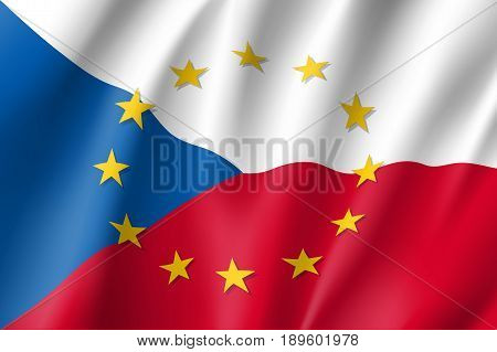 Czech Republic national flag with a circle of European Union twelve gold stars, identity and unity with EU, member since 1 May 2004. Realistic vector style illustration