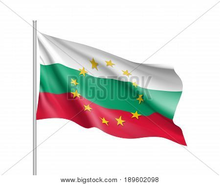 Bulgaria national waving flag with a circle of European Union twelve gold stars, symbol of unity with EU, member since 1 January 2007. Realistic vector illustration