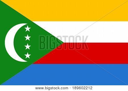 Flag Union of the Comoros. Patriotic sign african country in official national colors and proportion correctly. Patriotic sign East Africa state. Vector icon illustration