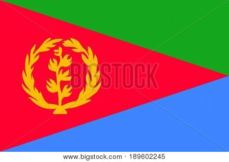 National flag of Eritrea. Sign african state in official djiboutian colors and proportion correctly. Patriotic sign East Africa country. Vector icon illustration