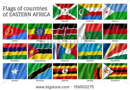 Set of waving flags of East Africa countries: Djibouti, Comoros, Burundi and Eritrea, Ethiopia, Kenya, Malawi and Mauritius. 18 ensigns of Eastern African states. Vector isolated icons