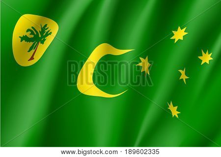 Waving vector flag of Cocos Keeling Islands. Patriotic sign in official country color and moon, star and palm. Special Administrative External Territory of Australia. Vector icon illustration