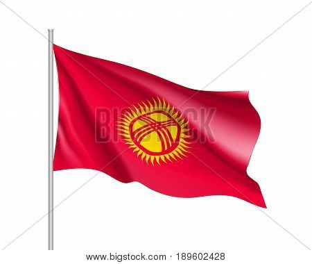 Waving flag of Kyrgyzstan Republic. Illustration of Asian country flag on flagpole. Vector 3d icon isolated on white background