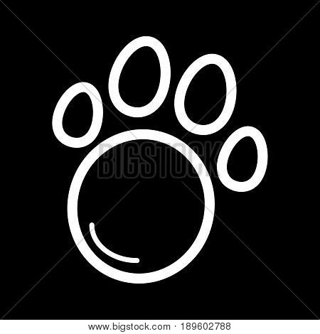 Pet paw simple vector icon. Black and white illustration of animal paw. Outline linear icon. eps 10