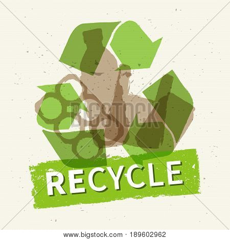 Recycle garbage vector illustration. Plastic and metal rubbish recycling creative concept. Bottle can plastic bag with word Recycle graphic design.