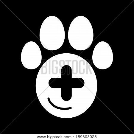 The pet paw and plus sign simple vector icon. Black and white illustration of veterinary hospital. Solid linear icon. eps 10