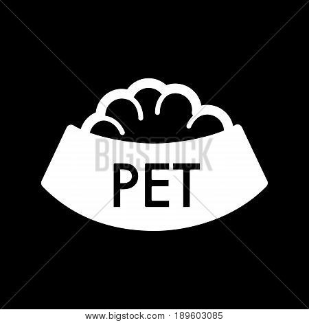 Pet bowl with food simple vector icon. Black and white illustration of dog and cat bowl. Solid linear icon. eps 10