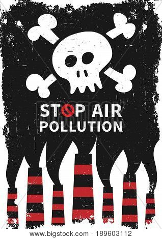 Stop air pollution with skull vector illustration. Fumes from industrial pipes pollute environment graphic design. Ecological problems with toxic atmosphere creative concept.