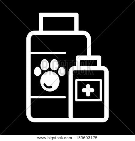 The pet medicines sign simple vector icon. Black and white illustration of veterinary hospital. Outline linear icon. eps 10