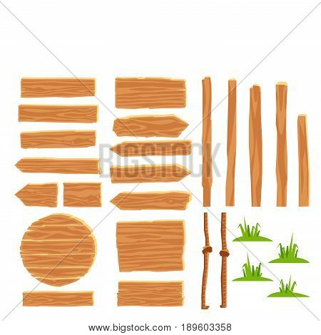 Set of wooden tablets. Vector icons on white background. Elements for design. Concept of location. Designer for creating wood road signs.