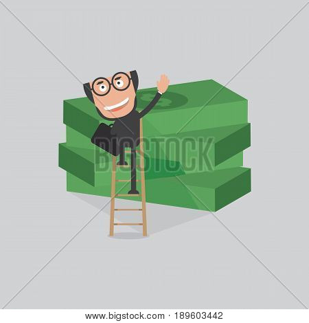 Businessman Reach Piles Of Banknotes By Ladder Vector Illustration. EPS 10