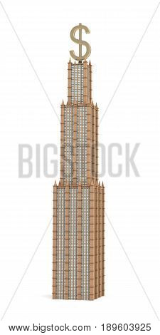 3d rendering of a three tiered skyscraper with a large USD sign as it's spire on white background. Office building. Company headquarters. Banking and investment profitability.
