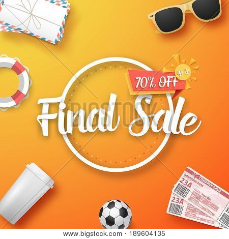 Illustration of Final Sale Vector Poster. Bright Sale Flyer Template with Travel Icons