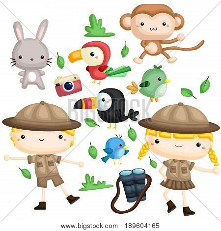 a boy and a girl zookeeper with animals