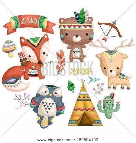 animals with tribal costume and tent and arrow