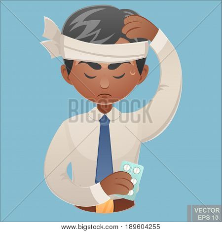 Vector - Cartoon Character Of Businessman Headache And Confusing Portrait Of Young Office Worker Tou