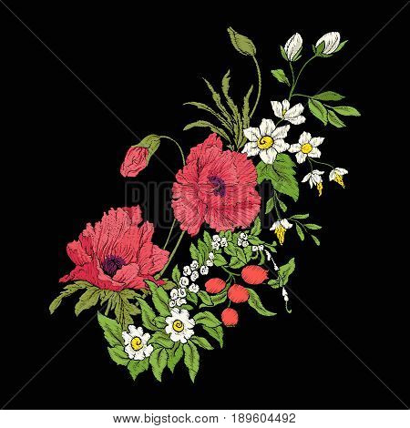 Embroidery vintage flowers bouquet of poppy, daffodil, anemone, violet in botanical style on black background. Stock vector illustration.