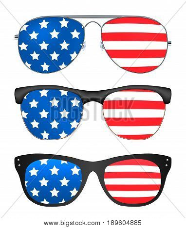 sunglasses with united states of america flag