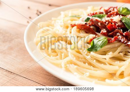 Italian Dish - Pasta With Sundried Tomato And Basil