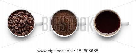 Coffee beans ground coffee and cup of black coffee over white background