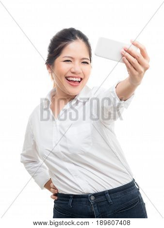 asian woman selfie with mobile phone isolated on white