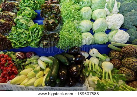 Fresh vegetables on the farmer's market stall