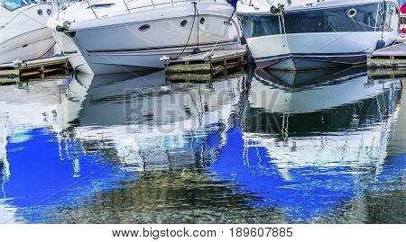 Motor Speed Boats Abstact Boardwalk Marina Piers Boats Reflection Lake Coeur d' Alene Idaho