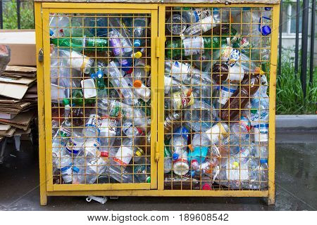 Kazan, Russia - 1 june 2017, - recyclable garbage of plastic bottles in rubbish bin, close up