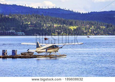 Seaplane Airplane Reflection Lake Coeur d' Alene Idaho