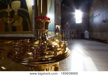 Kazan, Russia, 9 february 2017, inside church in Zilant monastery - accesories oldest orthodox building, vertical