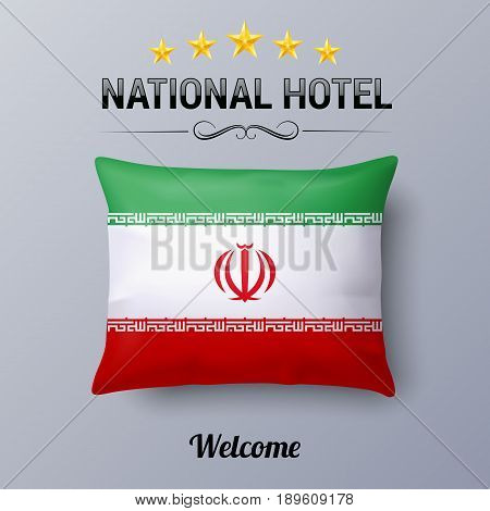 Realistic Pillow and Flag of Iran as Symbol National Hotel. Flag Pillow Cover with Iranian flag