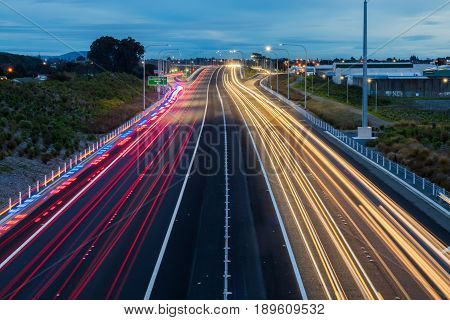 Traffic light trails looking south on the Kapiti expressway.