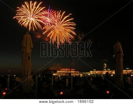 Nice Explosions On The Fireworks Festval In Scheveningen Netherlands