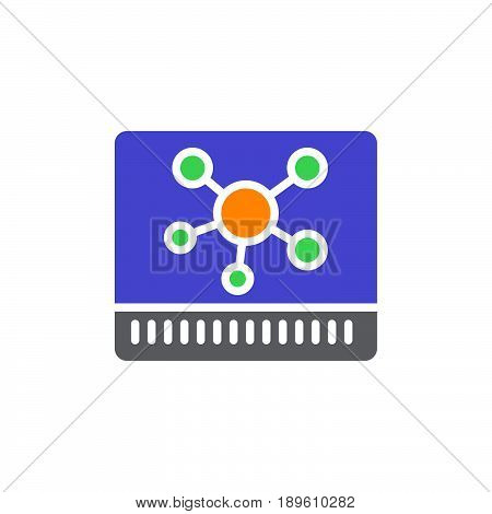 Hub vector icon colorful sign isolated on white