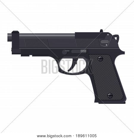 Pistol gun, automatic modern handgun. Hand weapon. Vector illustration in flat style