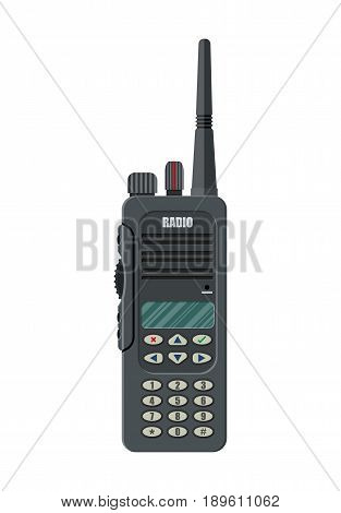 Modern portable handheld radio device. Vector illustration in flat style
