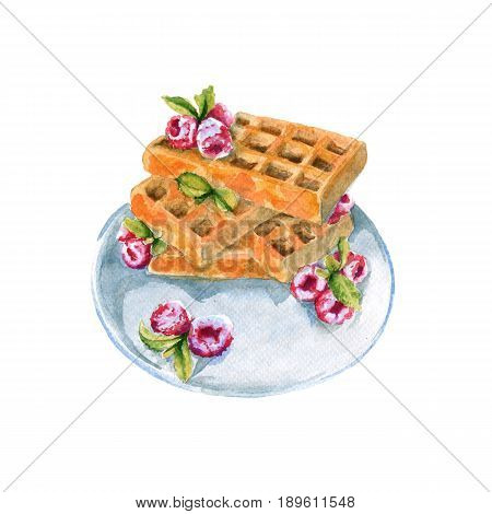 Wafers with raspberries on a plate. Isolated on white background. Watercolor illustration