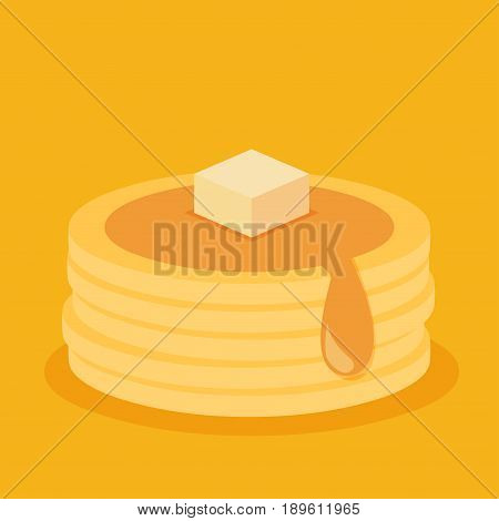 Isometric icon of pancakes isolated on color background