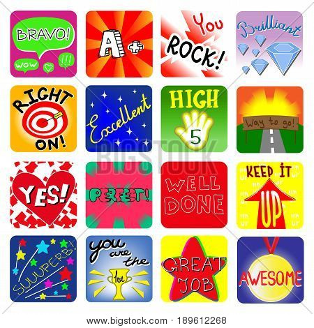 Achievement school Labels, kindergarten encourage reward stickers.