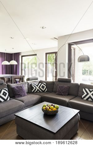Elegant and comfortable living room with large couch and coffee table