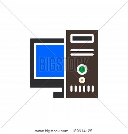 Desktop computer workstation vector icon colorful sign